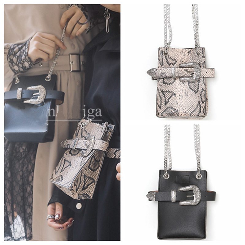 Waist Pack Women Serpentine Fanny Pack Leather Shoulder Bag Fashion Waist Belt Bag Women Small Phone Pouch Crossbody Bags B101