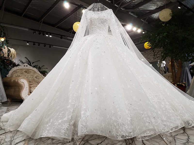 99fd5e4d19d ... LSS003 подвенечное платье с длинным рукавомРоскошные длинные рукава  свадебное платье бисером бальное платье зашнуровать кружева слоновой ...