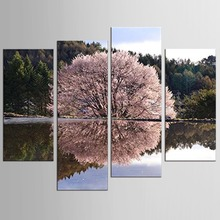 4 Pcs/Set  Cherry Blossoms Painting Wall Art Printed On Canvas Pictures For Living Room