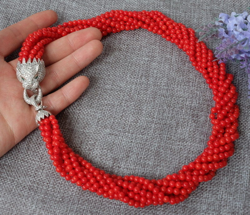 FREE SHIPPING>>> fashion 8strands Red Round Coral beads necklace with zircon leopard/cheetah clasp
