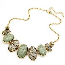 ZOSHI Bohemia Style Gem Choker Necklace Collar Necklaces Jewelry for Women Metal Chain Choker 4 colors Maxi Necklace colar