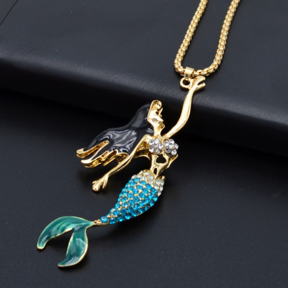 Bohemian Crystal Mermaid Fashion Long Chain Necklaces Pendants For Women Jewelry Gift