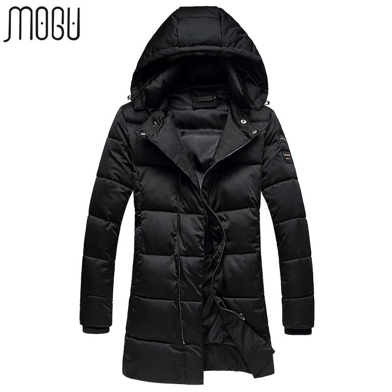 MOGU Winter Jacket Men Slim Fit Coats For Male 2017 New Arrival Long Men's Parka Black Casual Coat Aisan Size M-5XL Men's Jacket