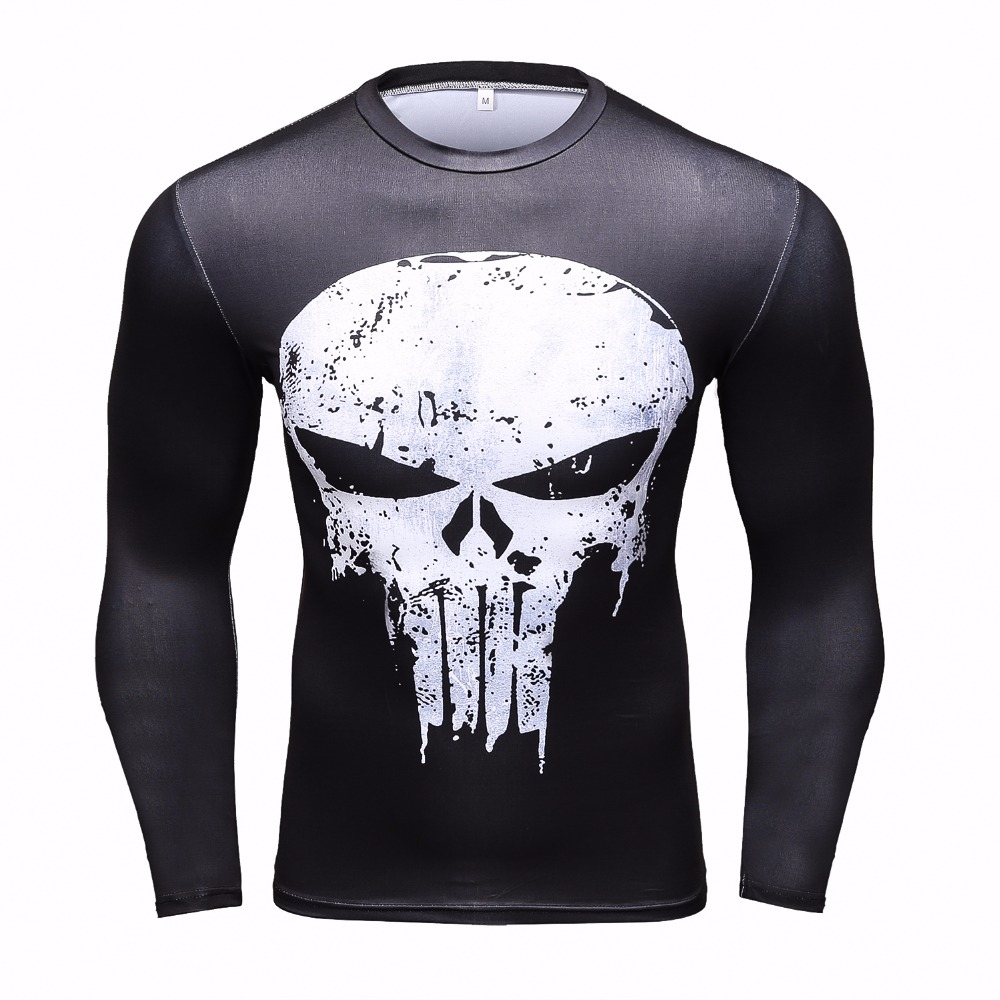 Long Sleeve Compression Top Shirt Punisher Skull Blue Workouts Tee