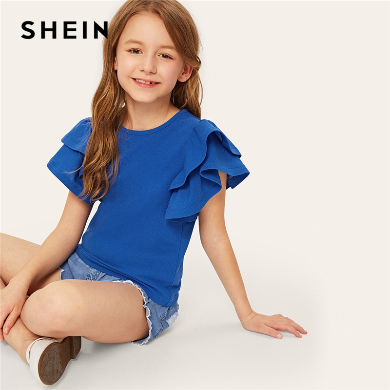 SHEIN Kiddie Blue Solid Ruffle Layered Sleeve Casual Kids Blouse 2019 Summer Cap Sleeve Cute Blouses Tops For Teenager Girls