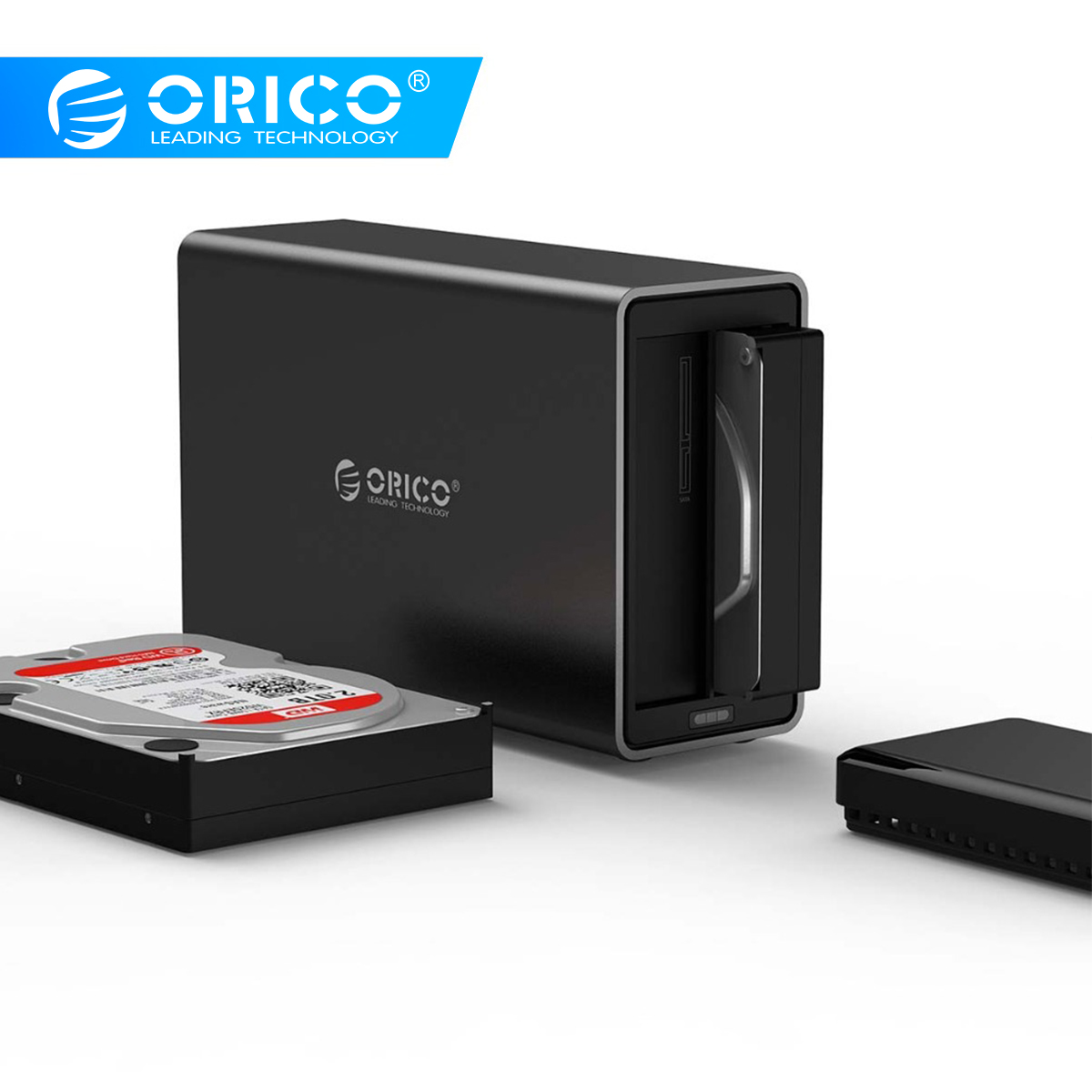 ORICO 2 Bay 3.5 Type-c Aluminum Hard Drive Disk External Enclosure USB3.1 To SATA3.0 HDD Case Support 5Gbps UASP 12V4A 20TB