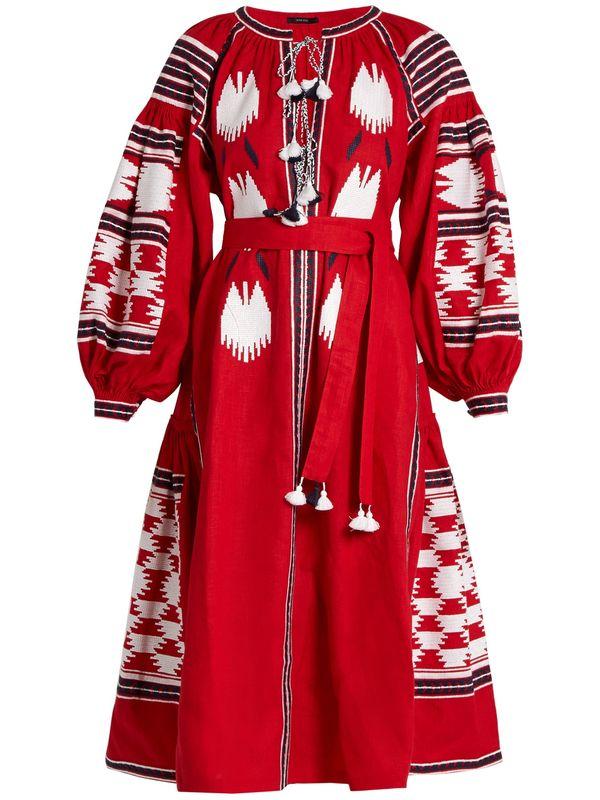 Bleu 2018 Femmes Lin marine Gland Embroiedry Robe Et Rouge Manches Piste Lanterne Vacances Jsxdhk Coton Midi Designer Boho D'été D'oiseau qHcRwRdUX