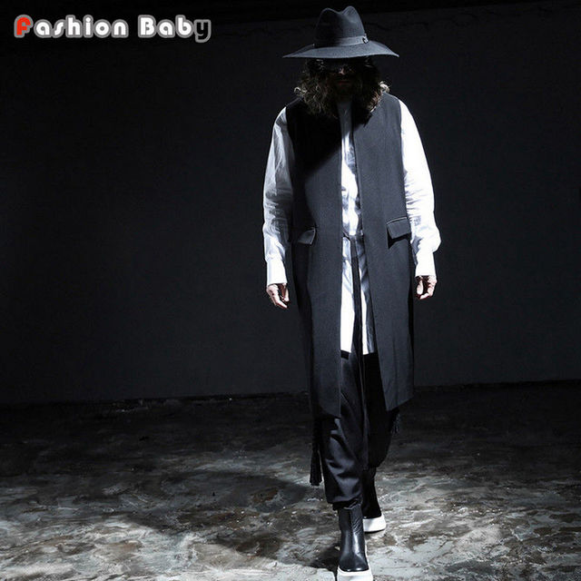 Fashion Mens Extended Brand Solid Black Waistcoat All-match Slim Designer Vest 2017 New Look