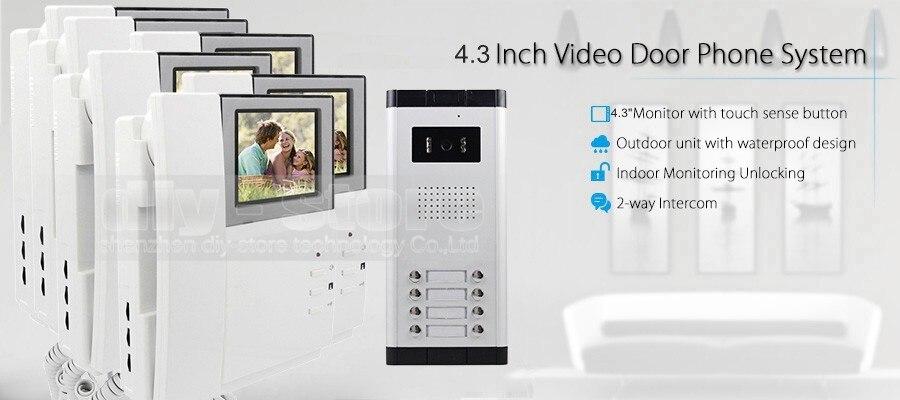 """7/""""Apartment Video Gegensprech Klingelanlage IR-Kamera Touch Taste Für 2 Familien"""