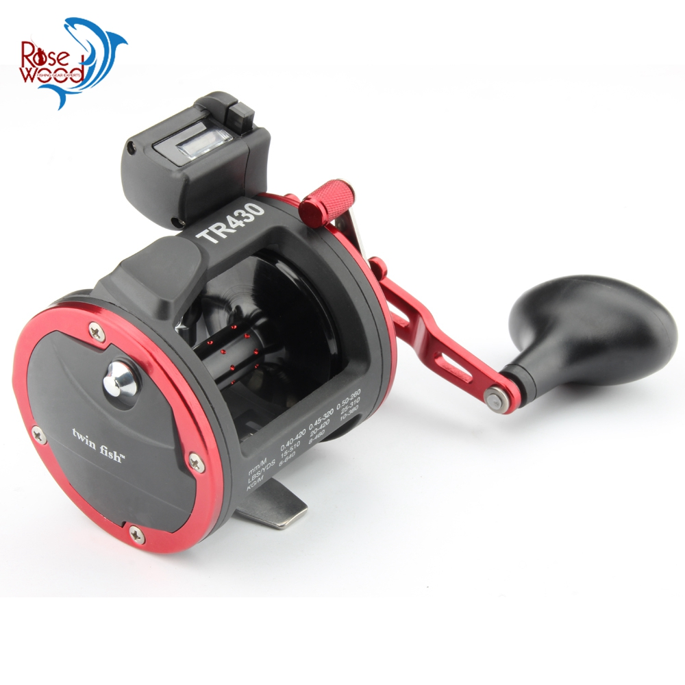 RoseWood Cast Drum Fishing Reel Right Hand S.S Ball Bearings Saltwater Trolling Reels With Electric Depth Counting Multiplier-in Fishing Reels from Sports & Entertainment    1