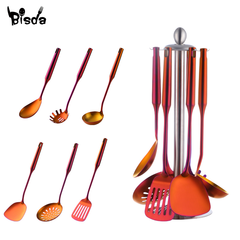 7 Pcs/Set Kitchen Cooking Utensil Accessories Stainless Steel Slotted Turner ladle Skimmer Food Server Kitchenware Set Tools