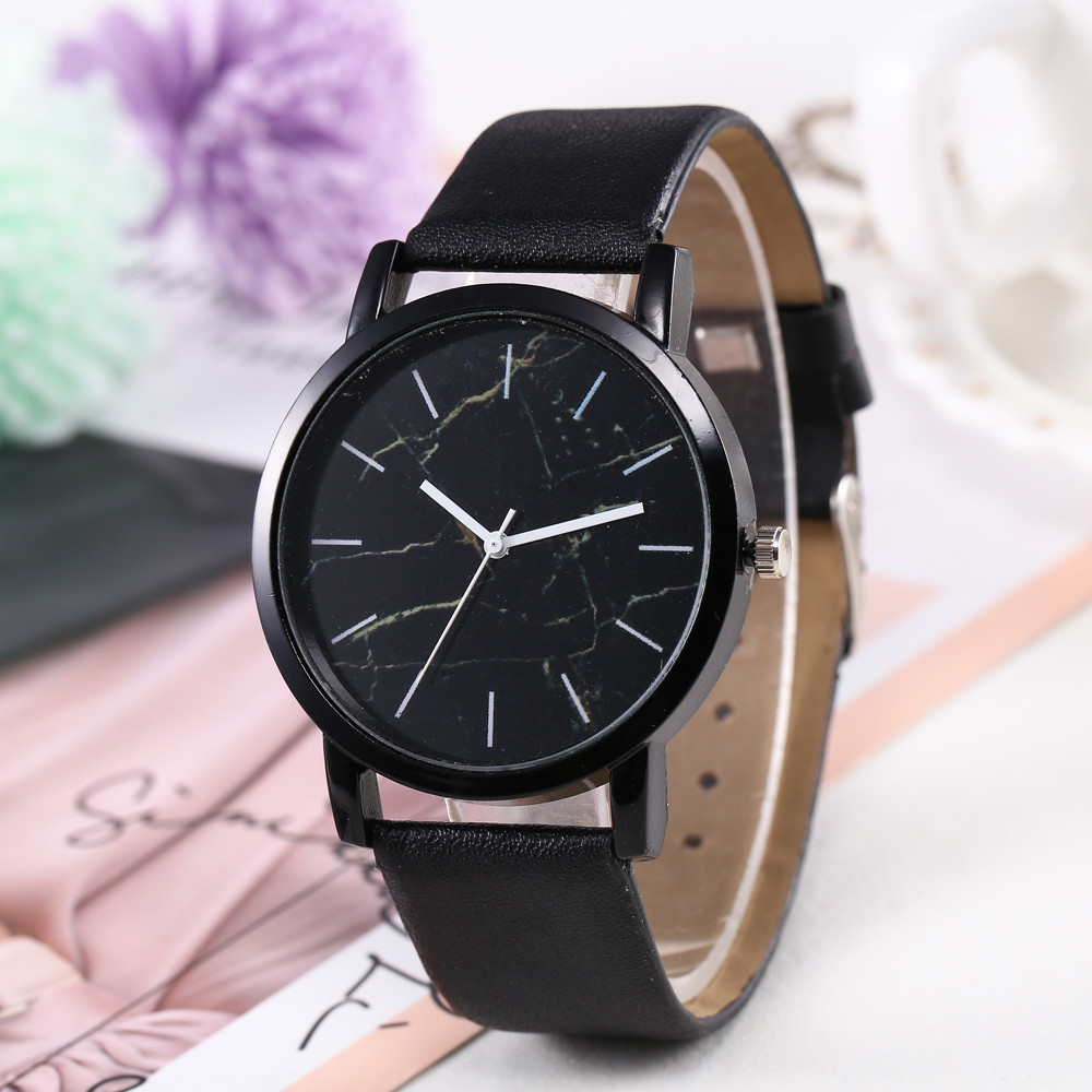 Top Sale Women Watch Marble Dial Casual Ladies Quartz Wristwatch Simple Black Leather Strap Clock High Quality Relogio Femini@50