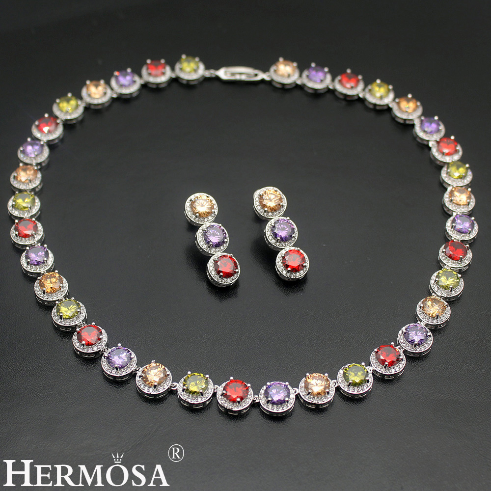 HERMOSA jewelry New Fashion 925 Sterling Silver round Necklace Earrings set ST35