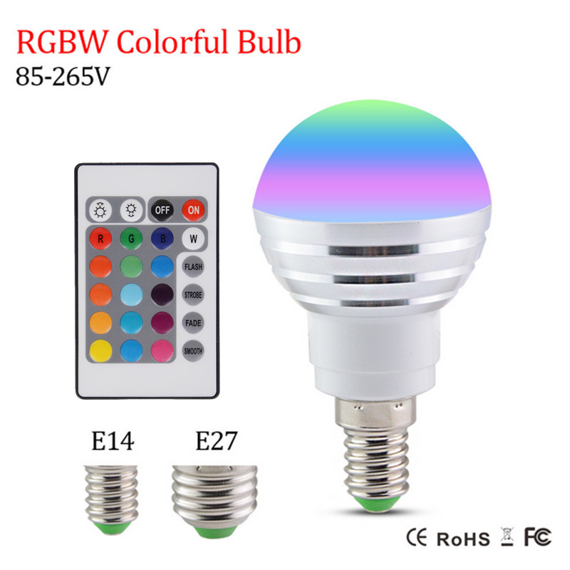 RAYWAY LED Blub E14 E27 LED RGB 3W Lamp Light Bulb+24 key IR Remote Controller Magic Bulb spotlight High Bright Lampada LED Lamp 10w rgb underwater lamp w 24 key remote controller black