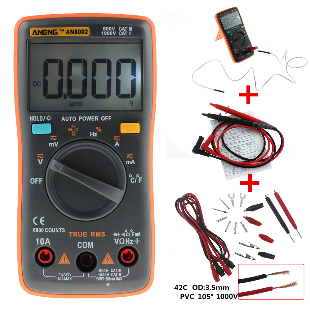 ANENG AN8002 Digital Multimeter 6000 counts Backlight AC/DC Ammeter Voltmeter Ohm Portable Meter orange 002