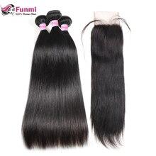 Прямые натуральные волосы, пряди с закрытием, 4X4 дюйма, перуанские человеческие волосы, пряди с закрытием, 3 пряди с закрытием, Funmi hair