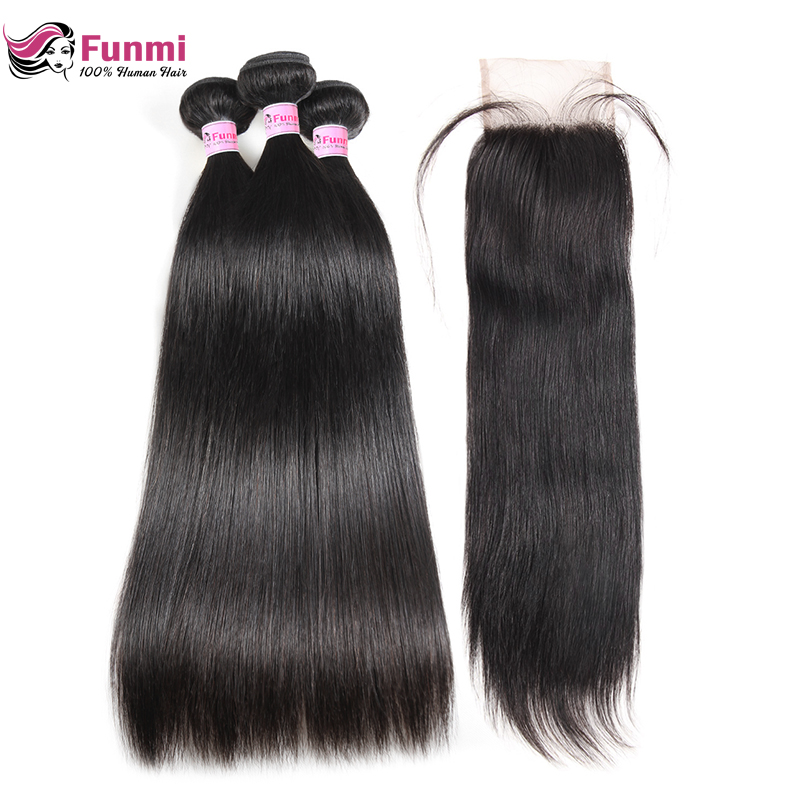 Straight Virgin Hair Bundles With Closure 4X4 Inch Peruvian Human Hair Bundles With Closure 3 Bundles With Closure Funmi Hair