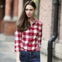 Veri Gude Women S British Style Turn Down Collar Pure Cotton Plaid Shirt