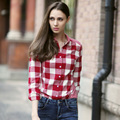 Veri Gude Women's British Style Plaid Shirts Button-down Collar Pure Cotton Blouse Free Shipping