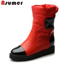 ASUMER Size 34-40 Ladies 2016 new high quality warm down fashion snow boots fur inside flat heels ankle boots women winter shoes