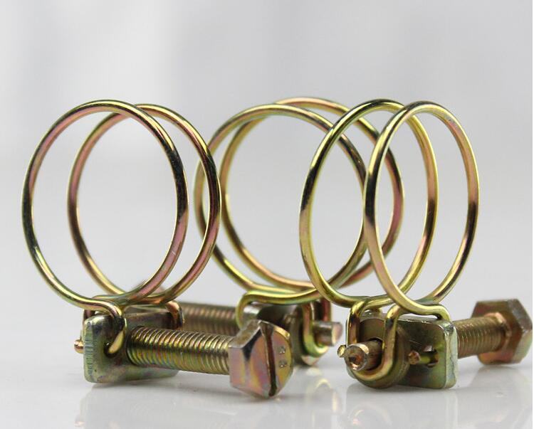 10pcs Double Wire Hose Clips Adjustable Double Wire Water Hose Barb Clamp Pipe Clip Hoop Plumbing Fastener 25mm-29mm