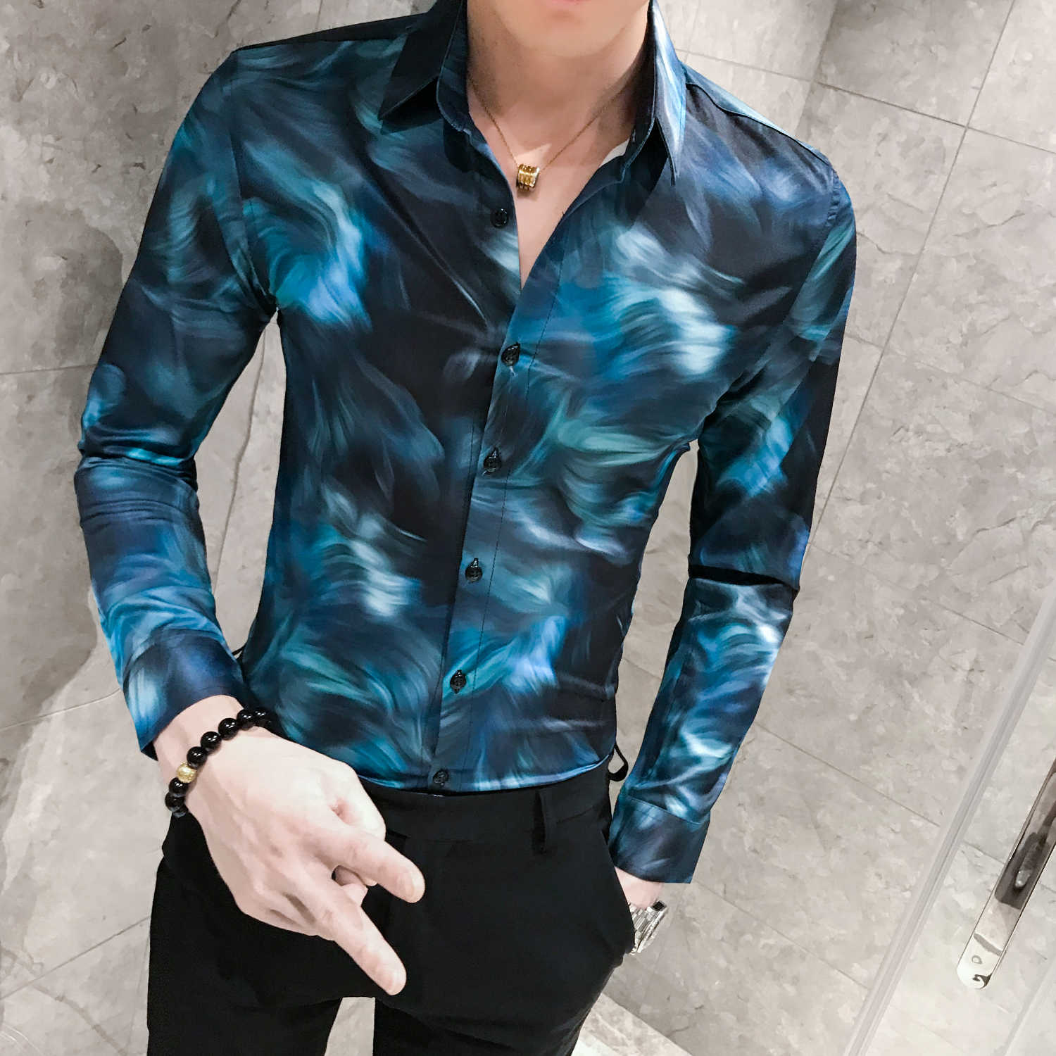 Autumn Long Sleeve Beautiful Print Men British Style Shirt Men New Fashion Casual Shirts Slim Fit Party Dress Shirt Camisa Homem
