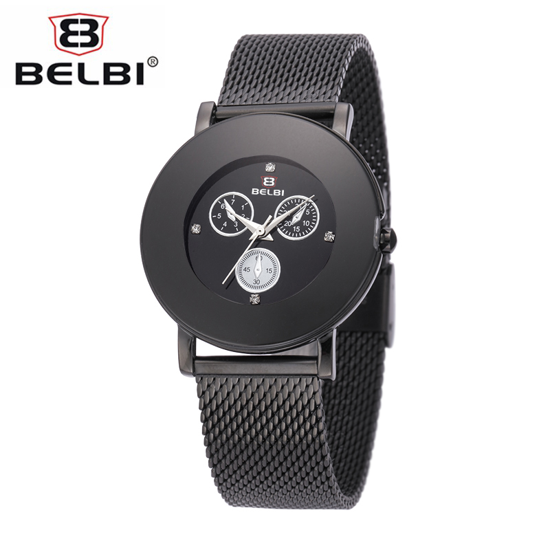 Prix pour Belbi nouveau style élégant montre de mode femmes en acier inoxydable maille bracelet simulation trois yeux dial casual quartz montre-bracelet