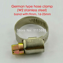 German type W2 stainless steel hose pipe tube clamps clips(9mm band width, 16-25mm)