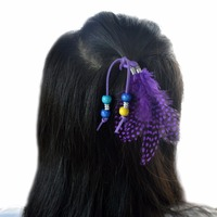Handmade Leather Rope Color Feather Headbands Wood Beads Boho Hair Accessories for Women Jewelry