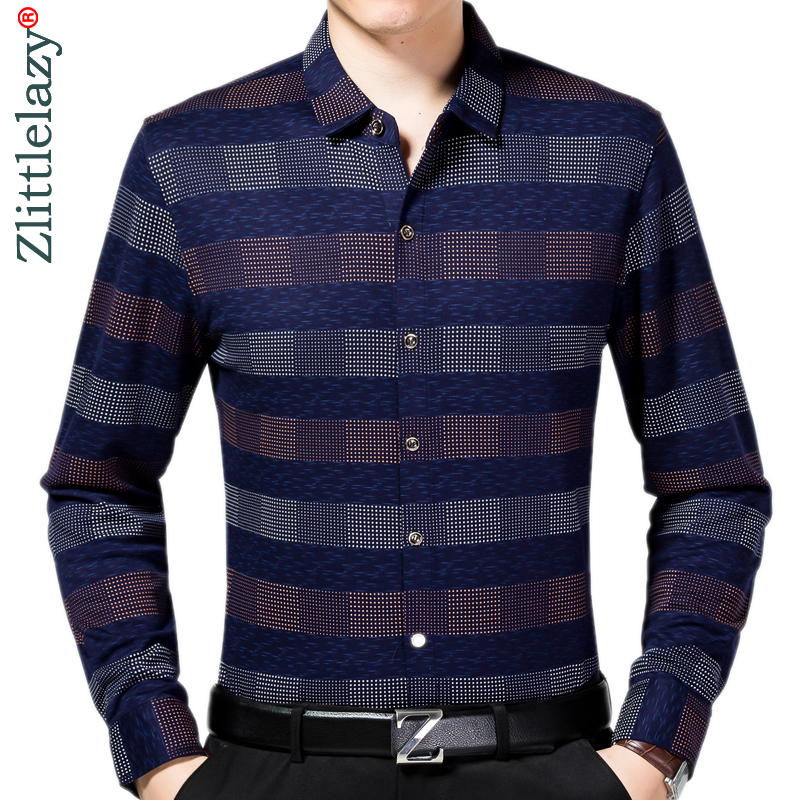 2019 New Long Sleeve Casual Plaid Men Shirt Camisa Social Masculina Streetwear Mens Shirts Casual Slim Fit Dress Clothes 7167