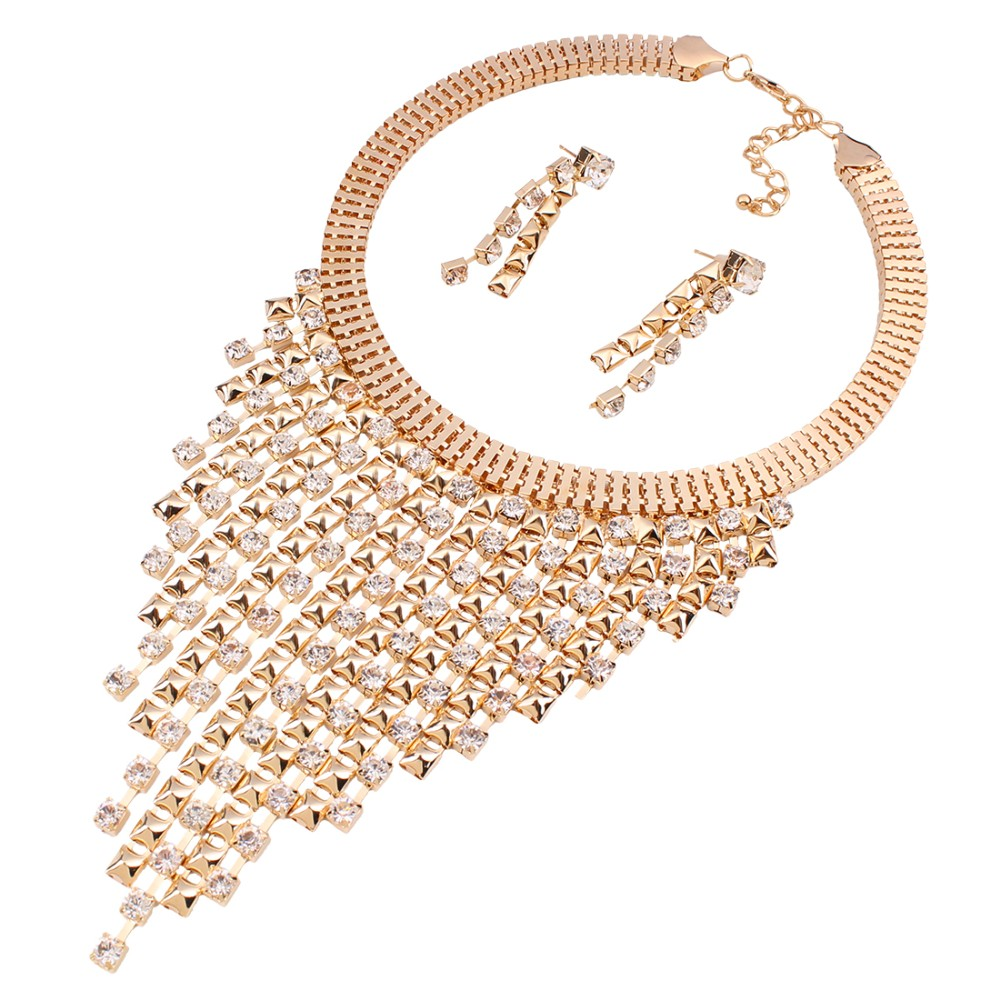 Solememo Luxury Gold Wedding Jewelry Sets Women Fashion Jewelry Sets Austrian Crystal Pendant Necklace Long Earrings N3589 5