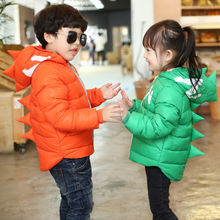 Зимняя Детская куртка для мальчиков мультяшный тираннозавр зимнее