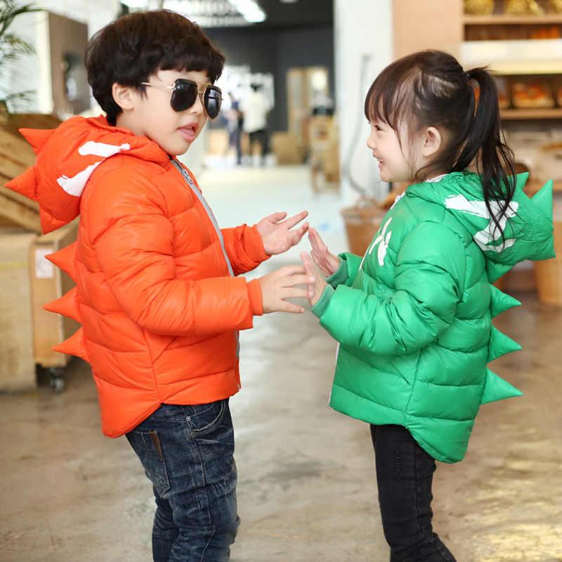Kış Çocuk Boys Ceketler Karikatür Tyrannosaurus Kızlar Kış Ceket Çocuk Giyim Bebek Erkek/Kız Aşağı Ceket Bebek Giysileri