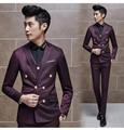Mens Doble de Pecho Traje 2015 Nueva Llegada Vestido de Novia Hombres terno masculino Azul Marino Negro Púrpura Rojo Slimt Encaja Traje De Jacquard