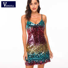 Vangull V-hals Lovertjes Backless Sexy Jurk 2019 Nieuwe Vrouwen Off Shoulder Mini Jurk Christmas Party Club Strap Jurken Vestidos(China)