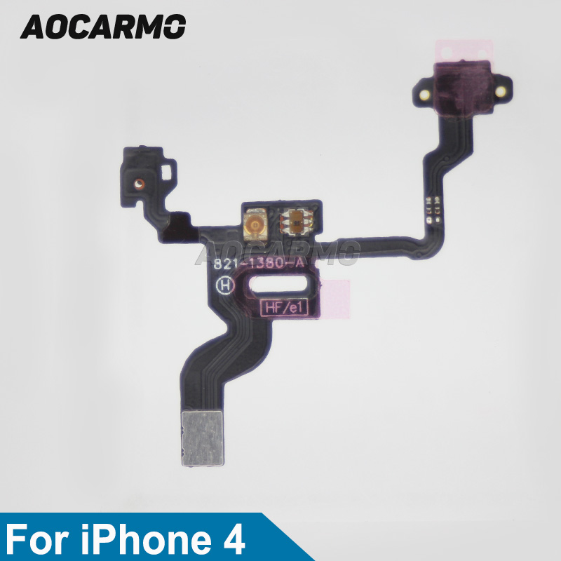 Aocarmo New Replacement On/Off Power/Lock Button/Switch Flex Cable With Mic For IPhone 4