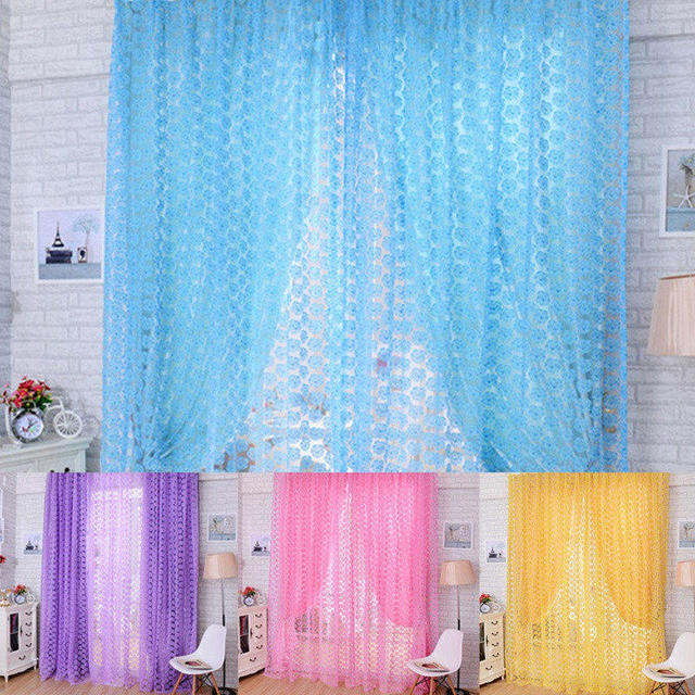Fabriek Prijs! Hot Rose Bloem Voile Gordijn Deur Kamer Sheer Panel ...