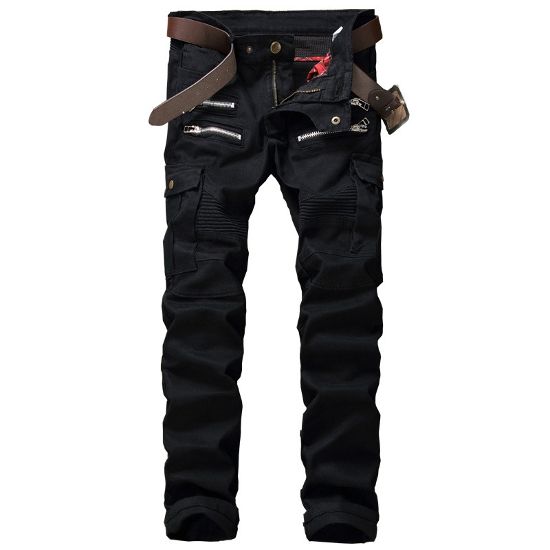 New 2017 Men Jeans Pants Designer Denim Biker Man Slim Fit Military Style Jean Trousers Hip Hop Multi Zipper  Pockets Pants men s cowboy jeans fashion blue jeans pant men plus sizes regular slim fit denim jean pants male high quality brand jeans