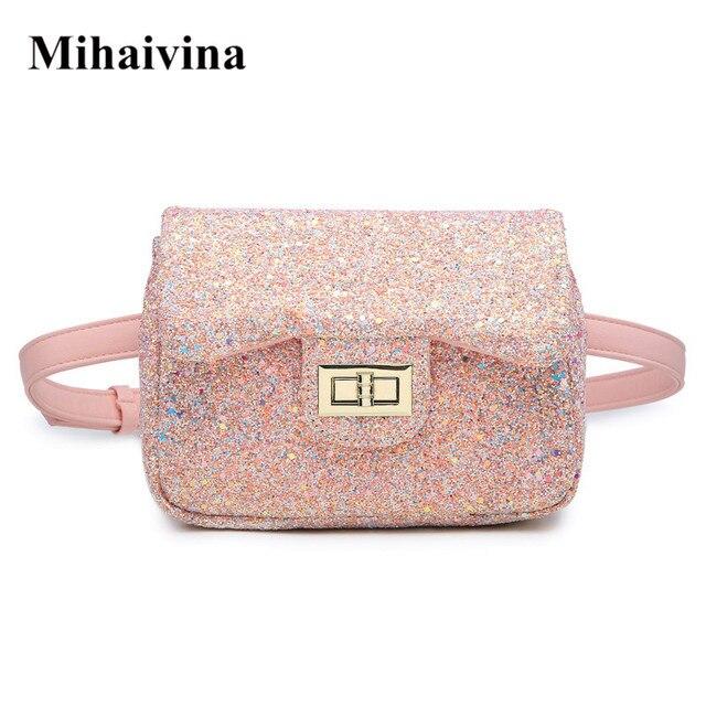 Mihaivina Glitter Women's Waist Bag Pink Fanny Pack Belt Bag Fashion Feamle Shoulder Satchel Bum Bags Pouch Hip Purse Waist Pack