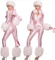 Mulheres Natal Traje Catsuit de Couro Sexy Senhorita Santa Traje Clubwear traje com chapéu de Natal cor De rosa