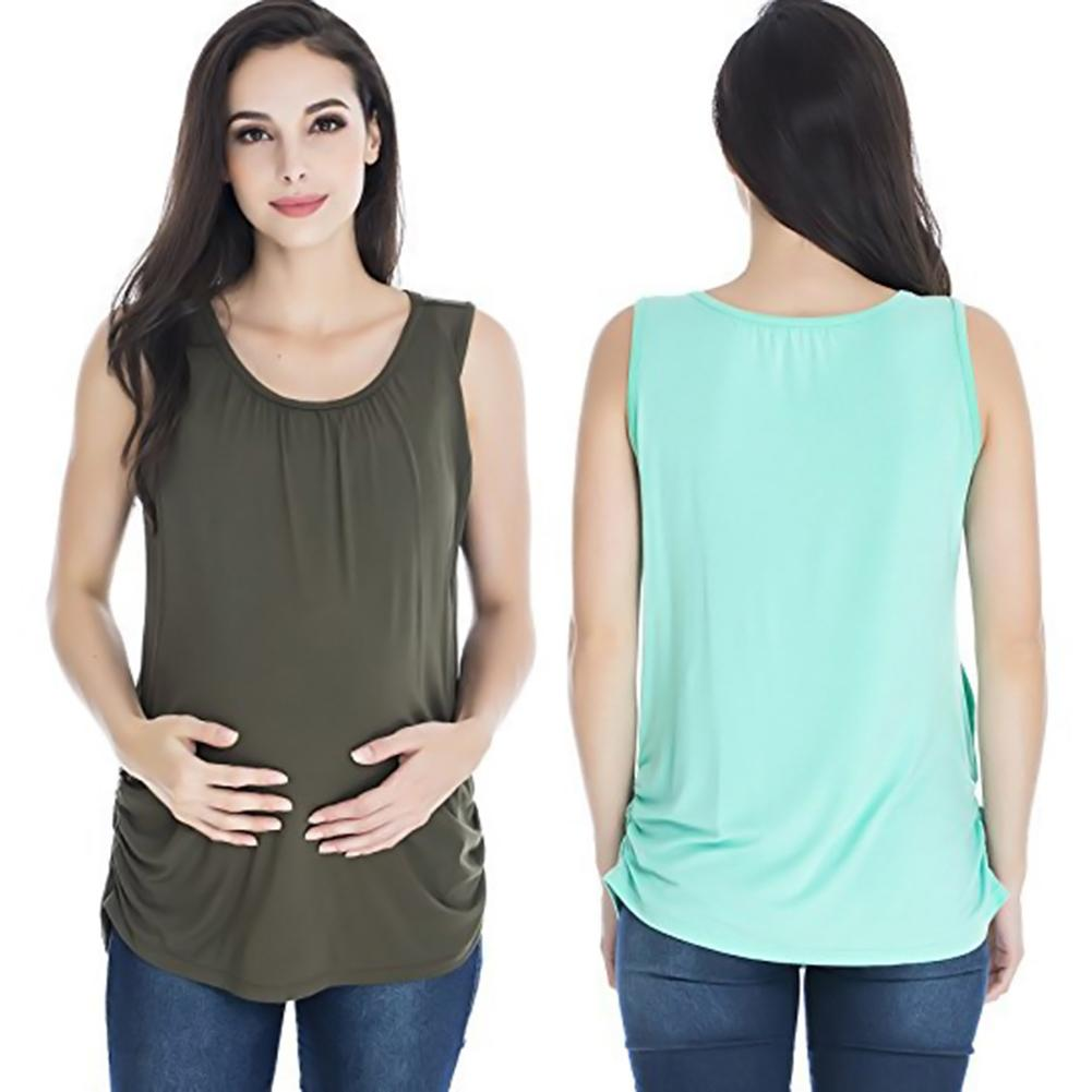 Round Neck Sleeveless Maternity Vest Top Breastfeeding T-Shirt