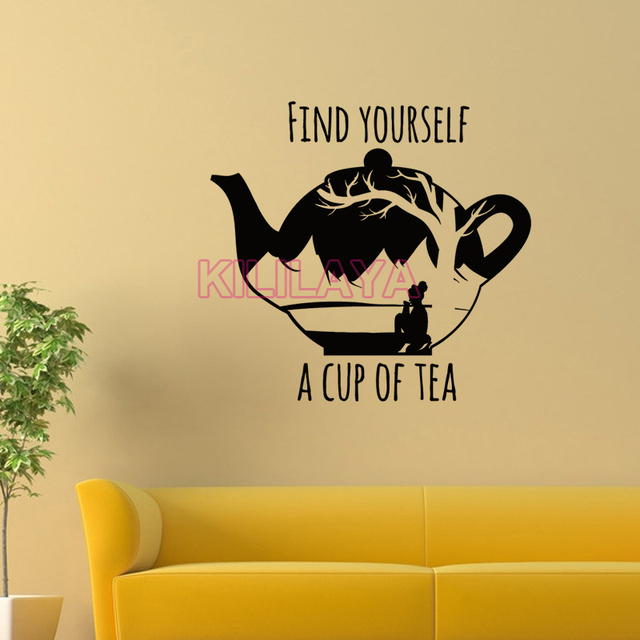 Stickers Inspiration Quote Teapot Find Yourself Vinyl Wall Sticker ...