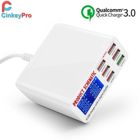 CinkeyPro LED Display USB Charger for iPhone iPad Samsung Quick Charge 3.0 6 Ports Fast Charging 5V/8A Travel Adapter Universal