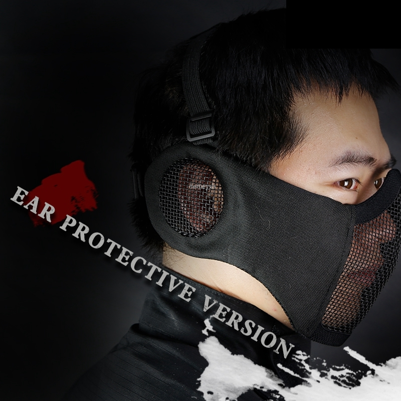 Tactical Metal Steel Net Mesh Mask Hunting Half Face Ear Protection Masks Airsoft Camouflage Guard Mask
