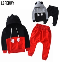 2015 New Mickey Kids Clothes Boys Clothing Set Baby Girls Clothes Set Srping Autumn Hoodies Set