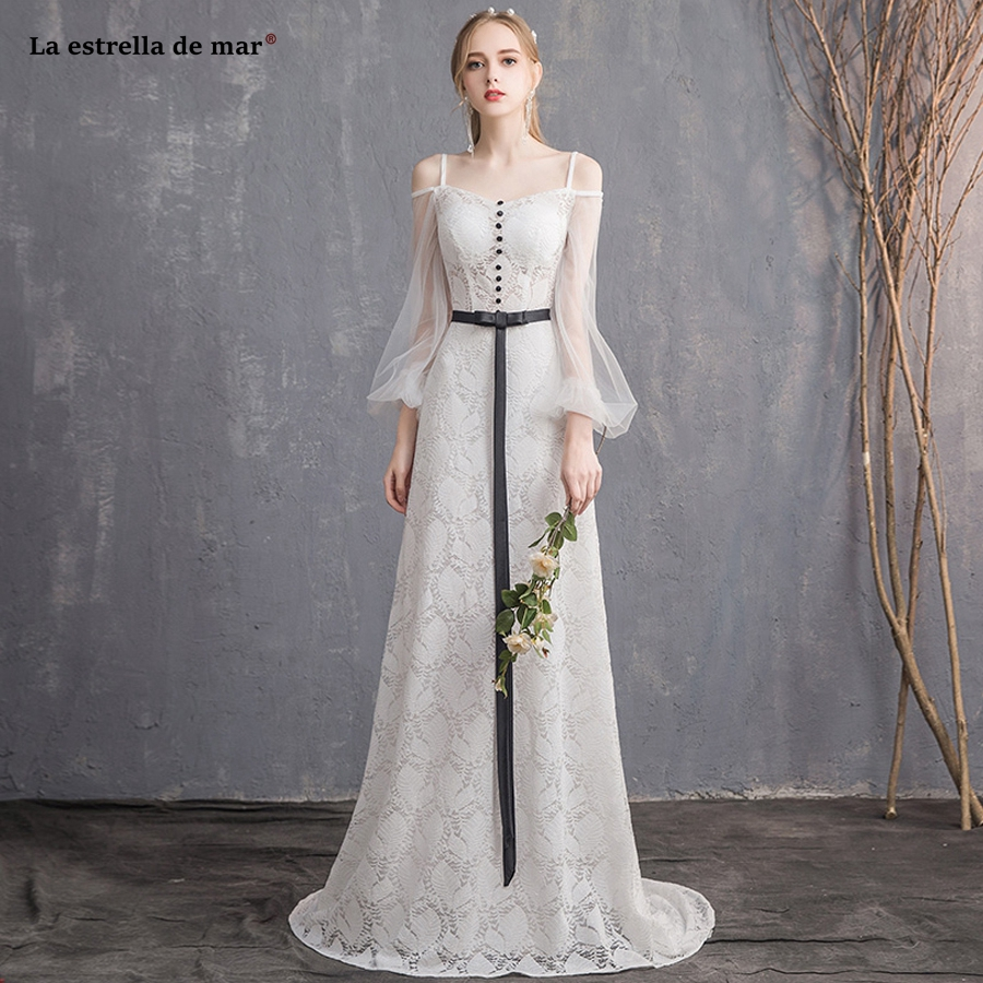 La estrella de mar robe de mariee 2019 new Boat Neck lace long sleeve A Line ivory boho wedding dress long plus size hochzeitskl