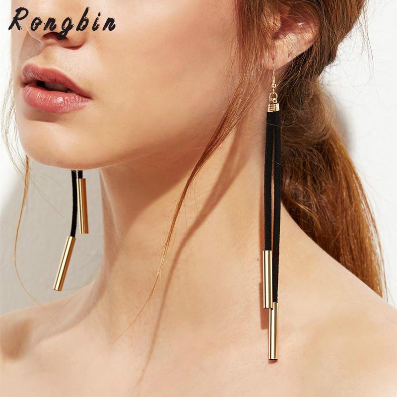 Trendy Designer Black White Brown Suede Leather Gold Silver Copper Tube Long Tassel Drop Dangle Earrings For Women Jewelry