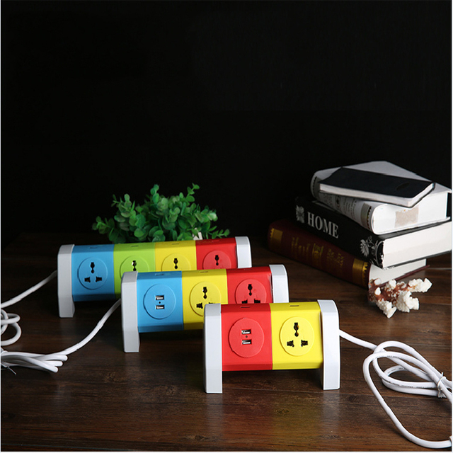 Creative Socket USB Power Strip AC Power Sockets+2 USB Outlets Surge Protected Extension Lead Adapter 1.8M Cable USB Socket