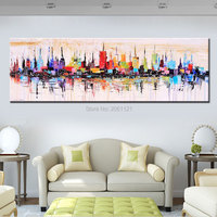 Fashion Modern Living Room Decorative Oil Painting Handpainted Large Long Canvas Picture Mirage City Landscape ABSTRACT