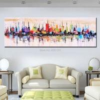 Moda Moderna sala de estar decoração de pintura a óleo pintado à mão grande longo da lona imagem Miragem da cidade paisagem ABSTRATA ARTE DA PAREDE